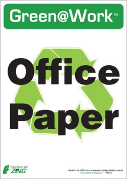 ZING Eco Label, Recycle Office Paper, Recycled Polystyrene Self Adhesive, 7Hx5W, 5/Pk