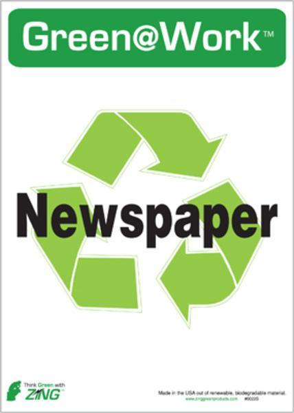 ZING Eco Label, Recycle Newspaper, Recycled Polystyrene Self Adhesive, 7Hx5W, 5/Pk