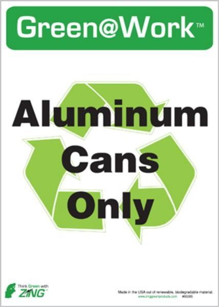 ZING Eco Label, Recycle Recycled Aluminum Cans, Recycled Polystyrene Self Adhesive, 7Hx5W, 5/Pk