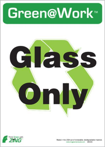 ZING Eco Label, Recycle Glass Only, Recycled Polystyrene Self Adhesive, 7Hx5W, 5/Pk