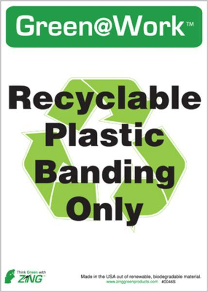 ZING Eco Label, Recycle Recycled Plastic Banding, Recycled Polystyrene Self Adhesive, 7Hx5W, 5/Pk