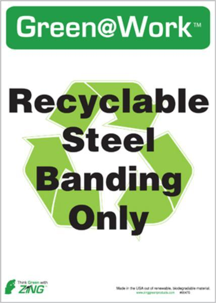 ZING Eco Label, Recycle Steel Banding, Recycled Polystyrene Self Adhesive, 7Hx5W, 5/Pk