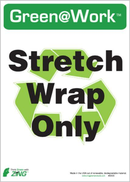 ZING Eco Label, Recycle Stretch Wrap, Recycled Polystyrene Self Adhesive, 7Hx5W, 5/Pk