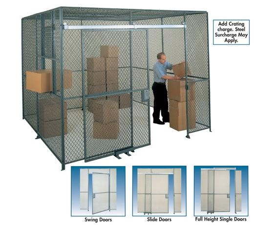 WOVEN WIRE PARTITION- Swing doors - 7 Opening, 7x4 HxW, Padlock Lug Closure