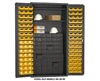 "36"" WIDE SMALL PARTS STORAGE & SECURITY CABINETS- Cabinet Type 112 STEEL PIGEON HOLE BINS & 96 HOOK-ON BINS, 36 x 24 x 72"" Size O.D. WxDxH, (96) 4 x 5 x 3"" Bins, (112) 12"" D Drawers"