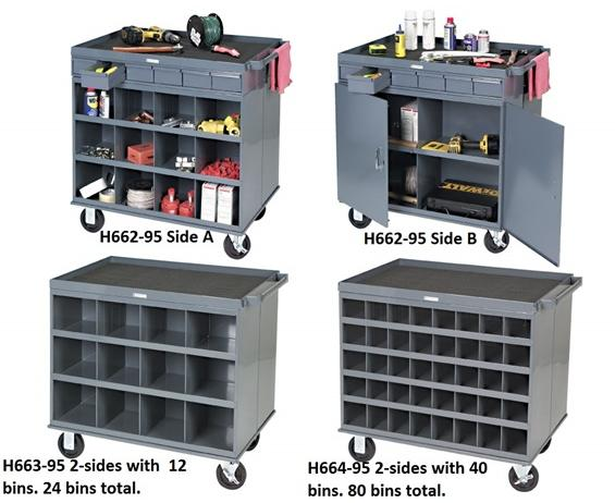 "MOBILE CART WORKSTATIONS- 2-sided mobile cart work station, 34 x 24 x 30"" Size WxDxH"
