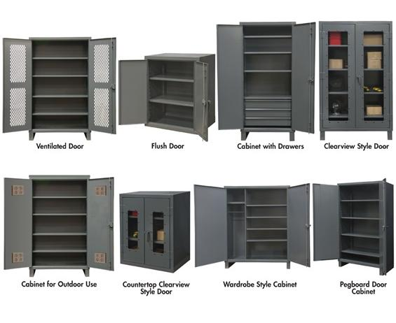 "EXTRA HEAVY DUTY STORAGE CABINETS- B) Flush Door Cabinet Type, 24 x 20 x 36"" Overall Size D x W x H, No. of Shelves 2, Shelf/Drawer Cap. (lbs) 1900"