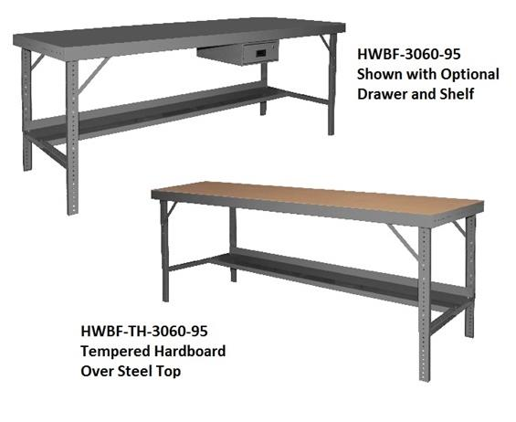 "ERGONOMIC WORKBENCHES- All Steel Top, 96 x 48"" Size WxD"