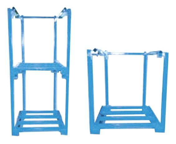"ONE PIECE PORTABLE STACKING RACKS- 48 x 40 x 48"" Size D x W x H, Blue"