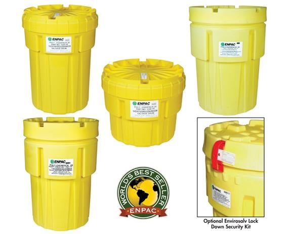 "ENPAC POLY-OVERPACK® 95, 65, 30 AND 20 GALLON SALVAGE DRUMS- Enpac Poly-Overpack™ (Meets UN regulations), Cap.(gals.) 95, Ratings UN 1H2/X295/S, DOT 49 CFR 173.3(c), EPA, SPCC, NPDES, Dia. Top/Bottom 31.75""/26"", Height 41.5"""