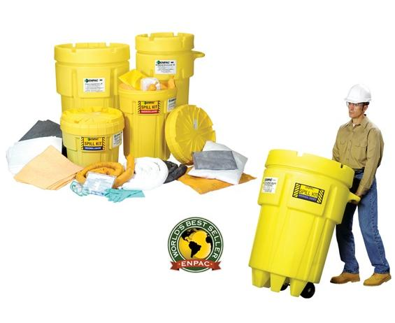 ENPAC SALVAGE DRUM SPILL KITS- 50 gal. Wheeled Spill Kit/Universal, Absorbs up to 31 gals.