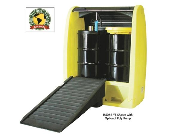 "ENPAC 2 & 4 DRUM HARDCOVERS WITH SPILLPALLETS®- 4-Drum Hardcover, Exterior Size LxWxH 65 x 58 x 69"", Interior Size LxWxH 49 x 54 x 53.5"", Sump Cap. (gal.) 66, Load Cap. (gal.) 6000"