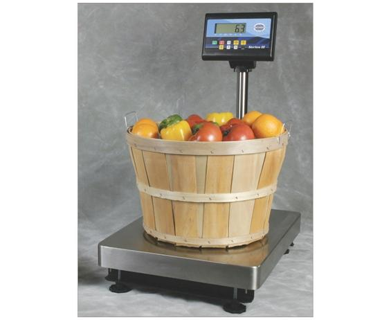 "STAINLESS STEEL BENCH SCALES SERIES III- 18 x 24"" Platform Size, 600 lbs. x .2 lbs. Available Cap. (lbs), RS232 Output, Battery or 120 VAC Power Req."