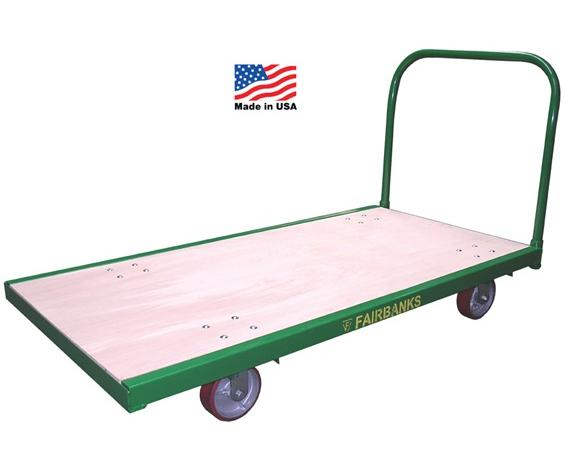"STEEL-BOUND PLATFORM TRUCKS- Size WxL 24 x 48"", Deck Height 9 1/4"", Wheel Type Rubber mold-on, Wheel Size 6 x 2"", Cap. (lbs) 1600"