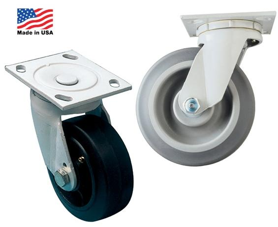 "MEDIUM HEAVY-DUTY CASTERS- Mold-On Rubber - Rigid Caster Type, 5 x 2"" Wheel Size, 350 Cap. (lbs), 6.50"" O.A. Height"