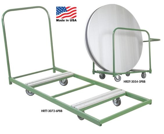 "FOLDING TABLE TRUCK- Round Table Truck, Truck Size 30 x 54"", Table Cap. 6 to 8, Table Size 48"" to 72"" Round, Overall Height 40"", Deck Height 7"""