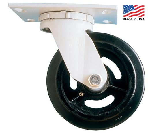 "HEAVY-DUTY CASTERS- Thermoplastic/Rubber - Rigid, Wheel Size 8 x 2"", Cap. (lbs.) 500, O.A. Height 9-1/2"""