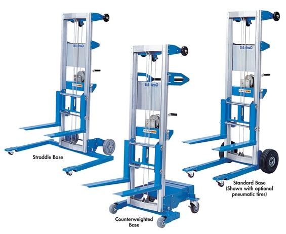 "THE GENIE® LIFT™- Straddle Base Type, 350 Lift Cap. (lbs), 13 9-1/2"" Max Height Fork Up, 12 Max Height Fork Down, 43-1/2"" Width, 43"" Length, 22-1/2 x 20-1/2"" Fork Size LxW"