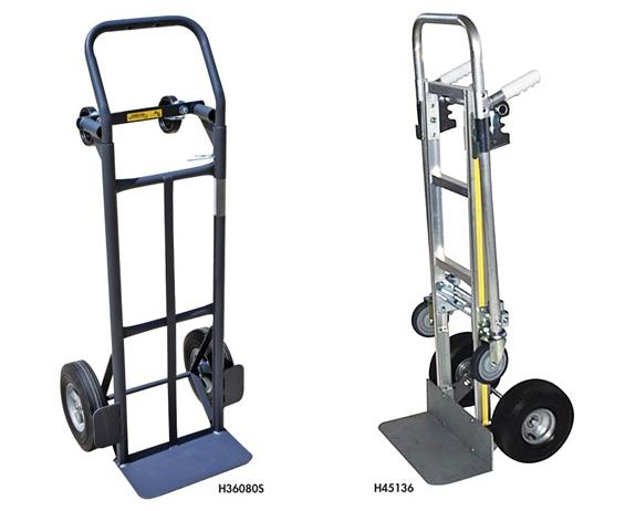 "FLOW BACK CONVERTIBLE HAND TRUCKS- Steel, 10"" Puncture Proof Wheels, 7-1/2 x 14"" Nose Plate, 800 Load Cap. (lbs)"