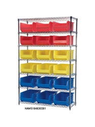 "AKROBIN® WIRE SYSTEMS- Green , 18 x 48 x 74"", 5 Shelves, 12 Bins"
