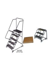 "SPRING LOADED CASTERS LADDERS- Abrasive Mat, No Handrails, 12"" Overall Height"