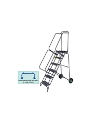 "FOLD-N-STORE ROLLING LADDER- Expanded Metal, 133"" Overall Height"