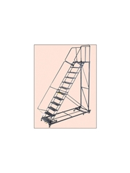 "HEAVY DUTY 600 LB. CAPACITY STAIRWAY SLOPE LADDER- Expanded Metal, 93"" Overall Height"