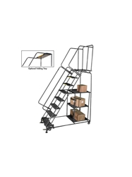 "STOCK PICKING LADDERS- 21"" Deep Top Step - (24""W. Step), Expanded Metal, 103"" Overall Height"