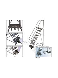 "WEIGHT - ACTUATED ROLLING SAFETY LADDERS- 50° Slope, Expanded Metal, 70"" Top Step Height, 103"" Overall Height"