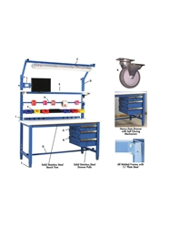 "5,000 LB. CAPACITY KENNEDY SERIES WORKBENCHES - WITH HEAVY LISSTATâ""¢ ESD TOP- White Top Color, 36 x 60"" Size DxL"