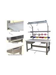 "1,000 LB. CAPACITY ROOSEVELT SERIES WORKBENCHES - WITH HEAVY LISSTATâ""¢ ESD TOP- White, 36 x 96"" Size DxL"
