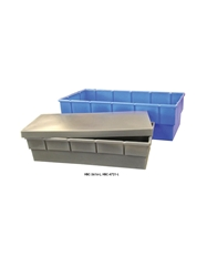 HEAVY-DUTY MOLDED PLASTIC CONTAINERS- Nests, includes lid for stacking, 48 x 23 x 13""