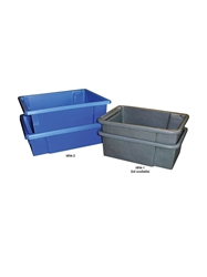 HEAVY-DUTY MOLDED PLASTIC CONTAINERS- Stack and nest tote, optional lid available, 24 x 16-3/4 x 8""