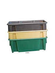 HEAVY-DUTY MOLDED PLASTIC CONTAINERS- Stack and nest tote, 20-1/2 x 10 x 8""