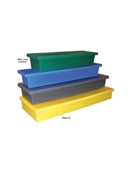 HEAVY-DUTY MOLDED PLASTIC CONTAINERS- Nests, includes lid for stacking, 42 x 15 x 8""