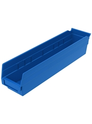 "POLYPROPYLENE SHELF BINS- Blue, 18"" Shelf Bin Size, 17-7/8 x 4-1/8 x 4 """