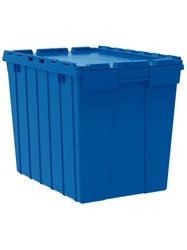 "ATTACHED LID CONTAINERS-Blue, 21-1/2 x 15 x 17"", Cap. Cu. Ft. 2.3, Cap. Gal. 17"
