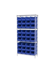 "AKROBIN® WIRE SYSTEMS- Blue , 14 x 36 x 74"", 4 Shelves, 36 Bins"