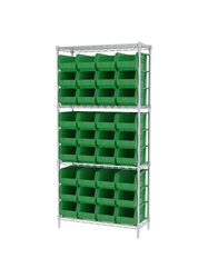 "AKROBIN® WIRE SYSTEMS- Green , 14 x 36 x 74"", 4 Shelves, 36 Bins"