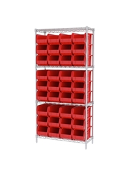 "AKROBIN® WIRE SYSTEMS- Red , 14 x 36 x 74"", 4 Shelves, 36 Bins"