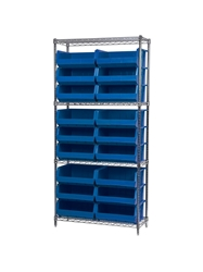 "AKROBIN® WIRE SYSTEMS- Blue , 14 x 36 x 74"", 4 Shelves, 18 Bins"