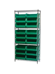 "AKROBIN® WIRE SYSTEMS- Green , 14 x 36 x 74"", 4 Shelves, 18 Bins"