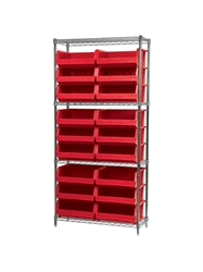 "AKROBIN® WIRE SYSTEMS- Red , 14 x 36 x 74"", 4 Shelves, 18 Bins"