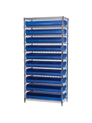 "AKROBIN® WIRE SYSTEMS- Blue , 14 x 36 x 74"", 11 Shelves, 20 Bins"
