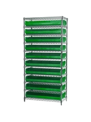 "AKROBIN® WIRE SYSTEMS- Green , 14 x 36 x 74"", 11 Shelves, 20 Bins"