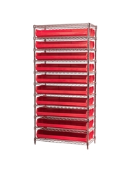 "AKROBIN® WIRE SYSTEMS- Red , 14 x 36 x 74"", 11 Shelves, 20 Bins"