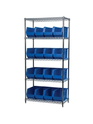 "AKROBIN® WIRE SYSTEMS- Blue , 18 x 36 x 74"", 5 Shelves, 18 Bins"