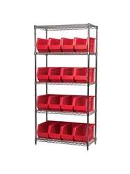 "AKROBIN® WIRE SYSTEMS- Red , 18 x 36 x 74"", 5 Shelves, 18 Bins"