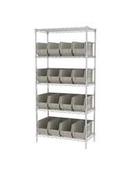 "AKROBIN® WIRE SYSTEMS- Stone , 18 x 36 x 74"", 5 Shelves, 18 Bins"