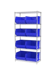 "AKROBIN® WIRE SYSTEMS- Blue , 18 x 36 x 74"", 5 Shelves, 9 Bins"